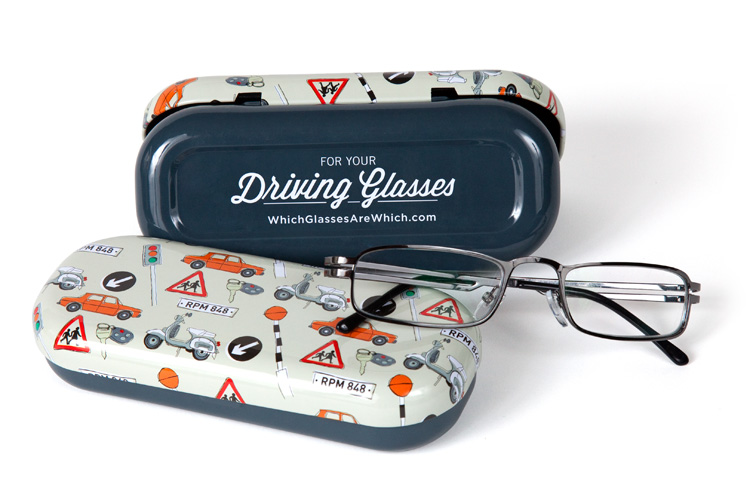 Driving glasses case with glasses